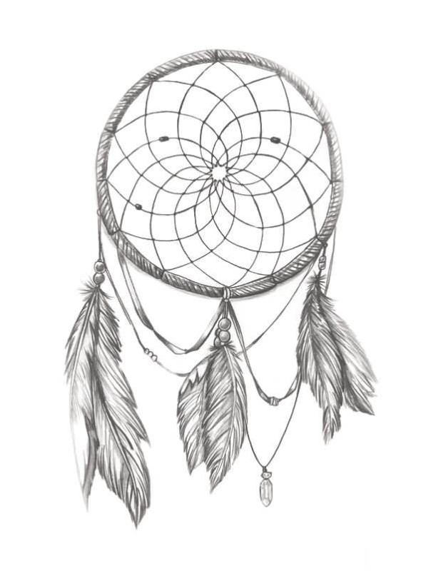 611x800 Amazing Simple Dream Catcher Flower Tattoo Design
