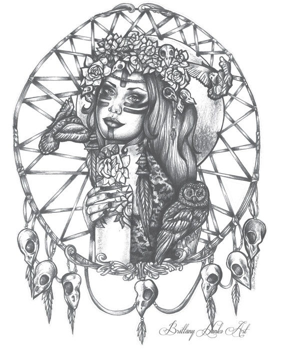 570x727 Dreamcatcher Girl Archival Art Print 12x16 16x20 Pin Up