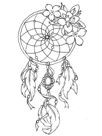 345x460 To Print This Free Coloring Page Dreamcatcher Tattoo