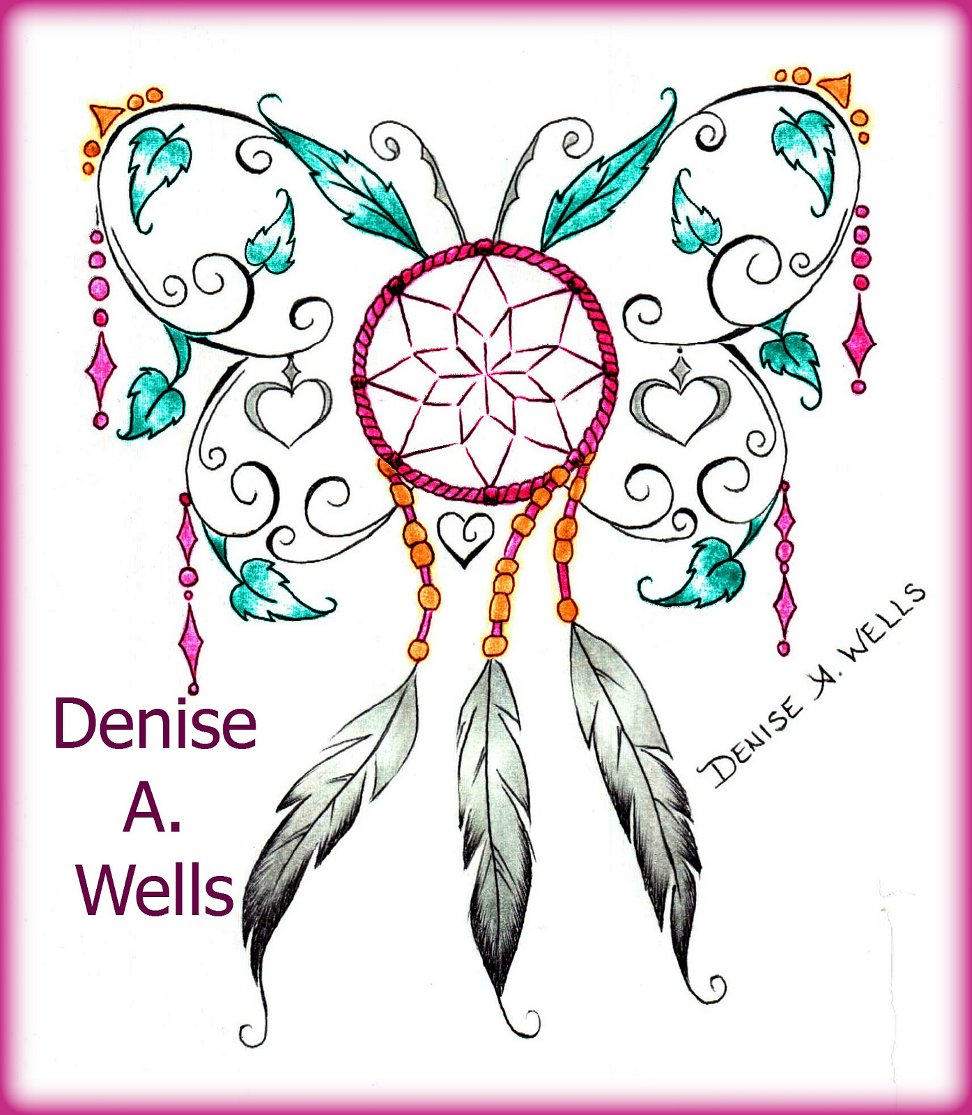 1395x1600 Dream Catcher Butterfly Tattoo Design By Denise A. Wells