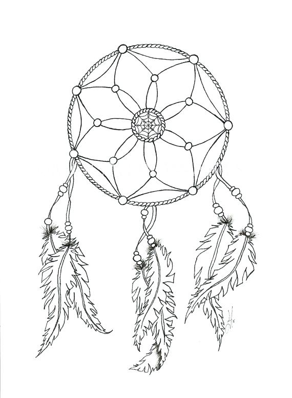 570x777 Dream Catcher Coloring Pages Drawn Free Printable Dream Catcher