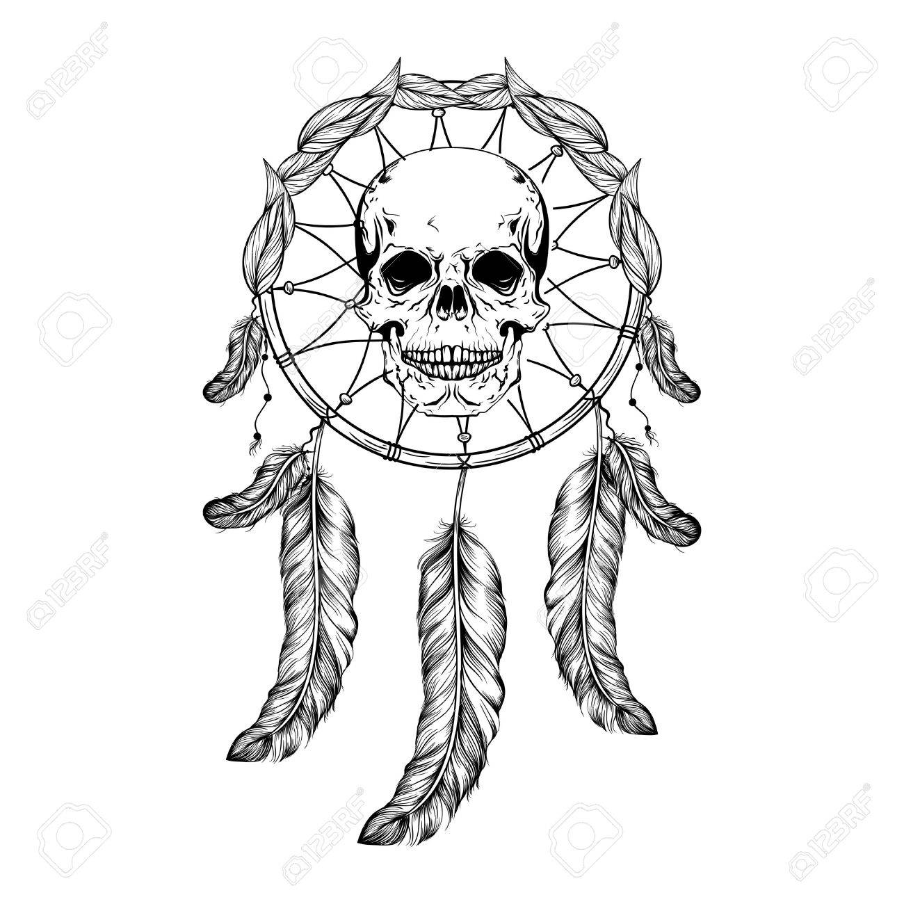 1300x1300 Dream Catcher With Feathers And Leafs, Skull Center Maden