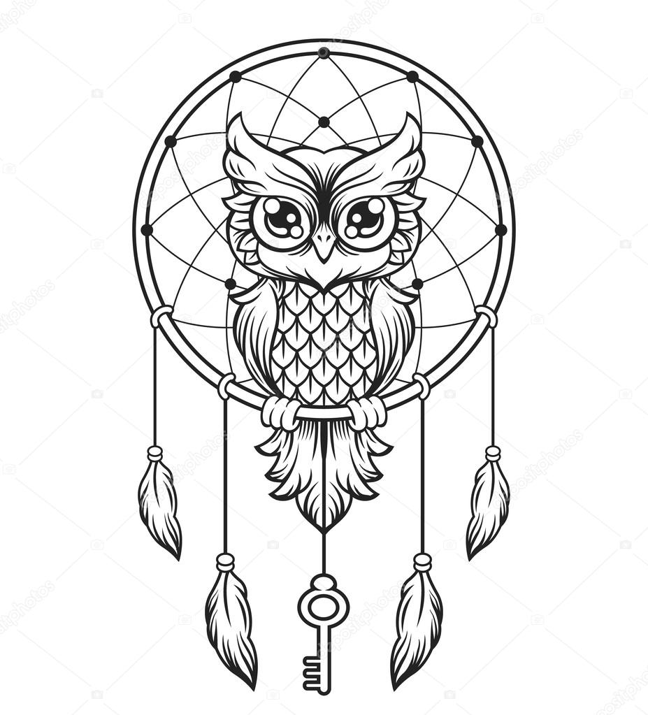 927x1023 Dream Catcher Black And White Owl. Vector Line Illustration