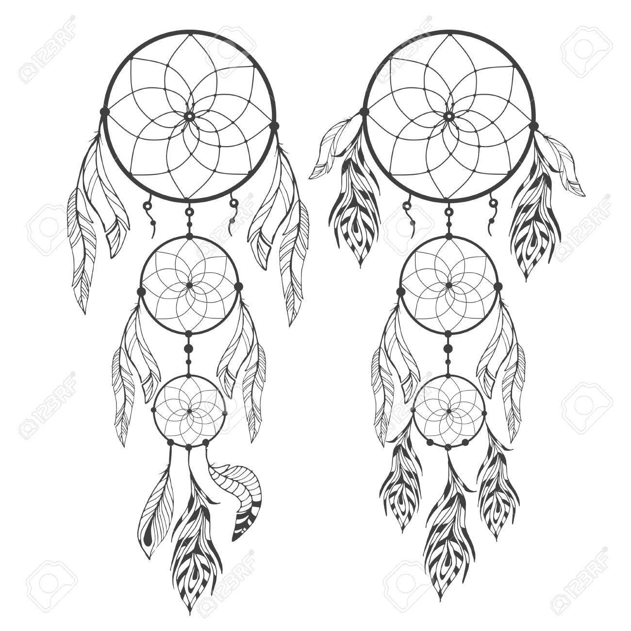 1300x1300 Hand Drawn Dream Catcher With Feathers On Izolated Background