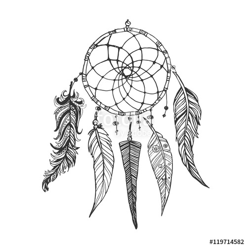 500x500 Hand Drawn Doodle Ink Dream Catcher With Feathers. Ethnic