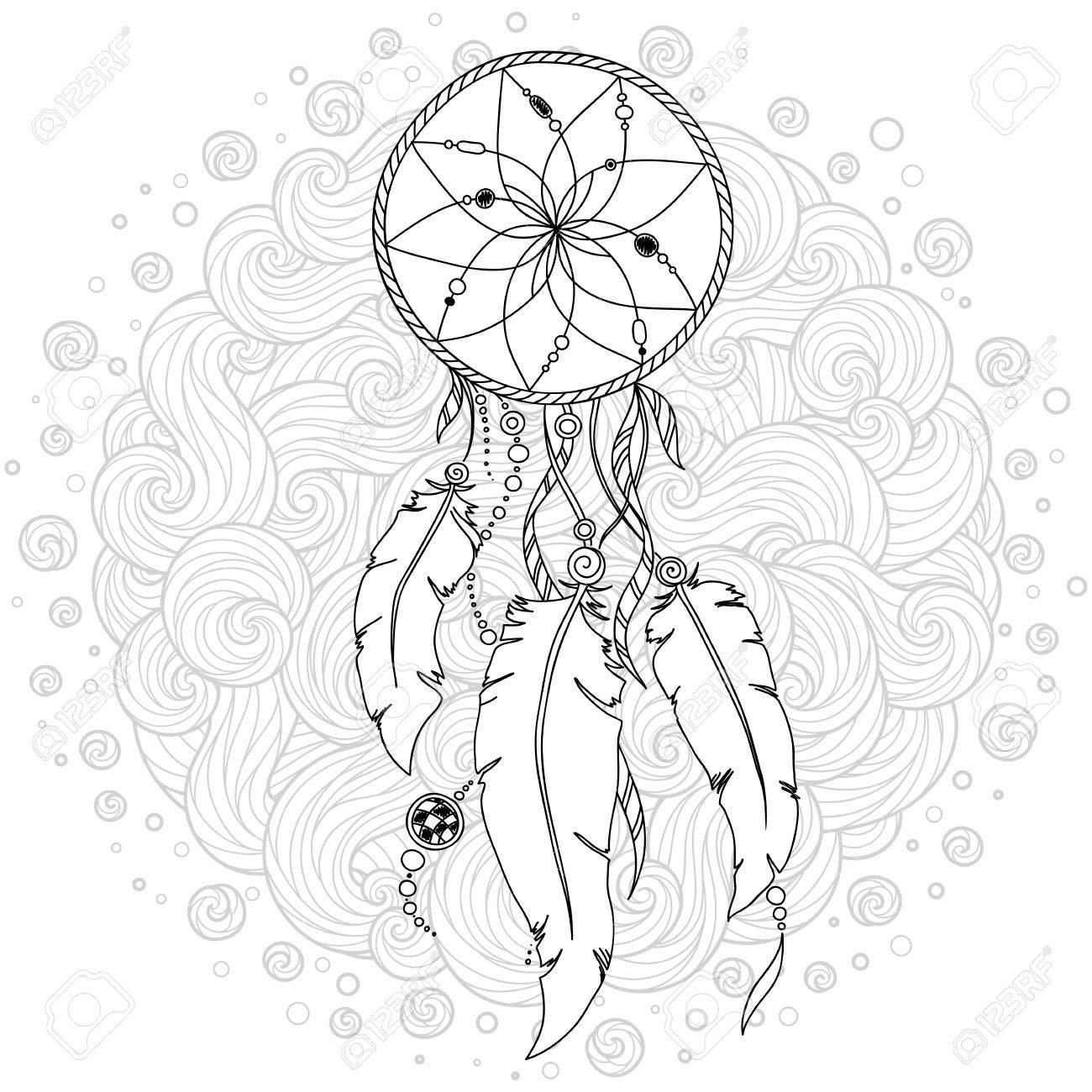 1300x1300 Monochrome Dream Catcher With Feathers. Hand Drawn Vector
