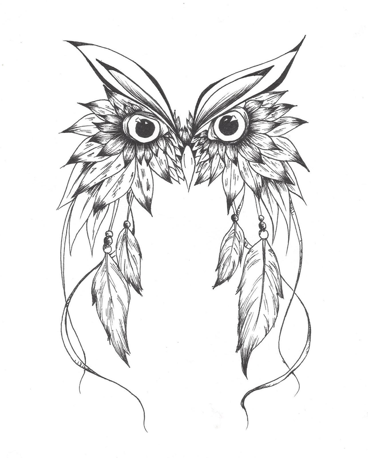 1286x1600 Owl Dreamcatcher Drawing