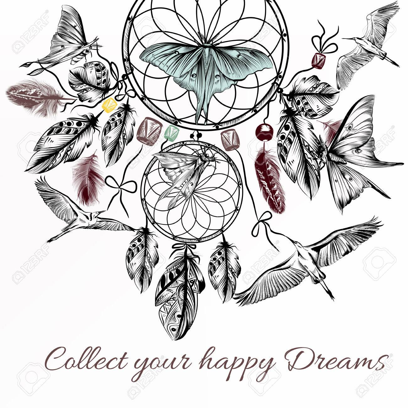 1300x1300 Tribal Vector Background With Hand Drawn Dream Catcher In Engraved