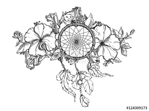 500x375 Black White Hand Drawn Floral Ornament With Petunia Flower