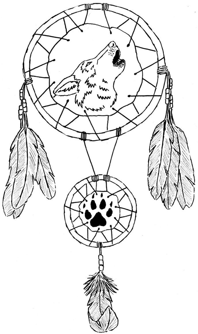 688x1160 Drawn Dreamcatcher Coloring Page