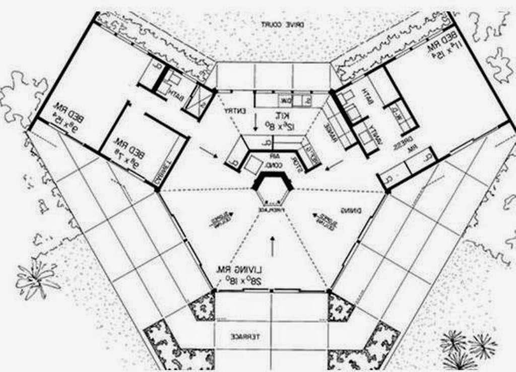 1024x739 Dream House Bio Octagon Earth Ship Style Plans Home With Center