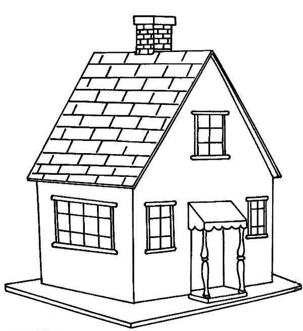 600x655 Dream House Coloring Pages Printable White