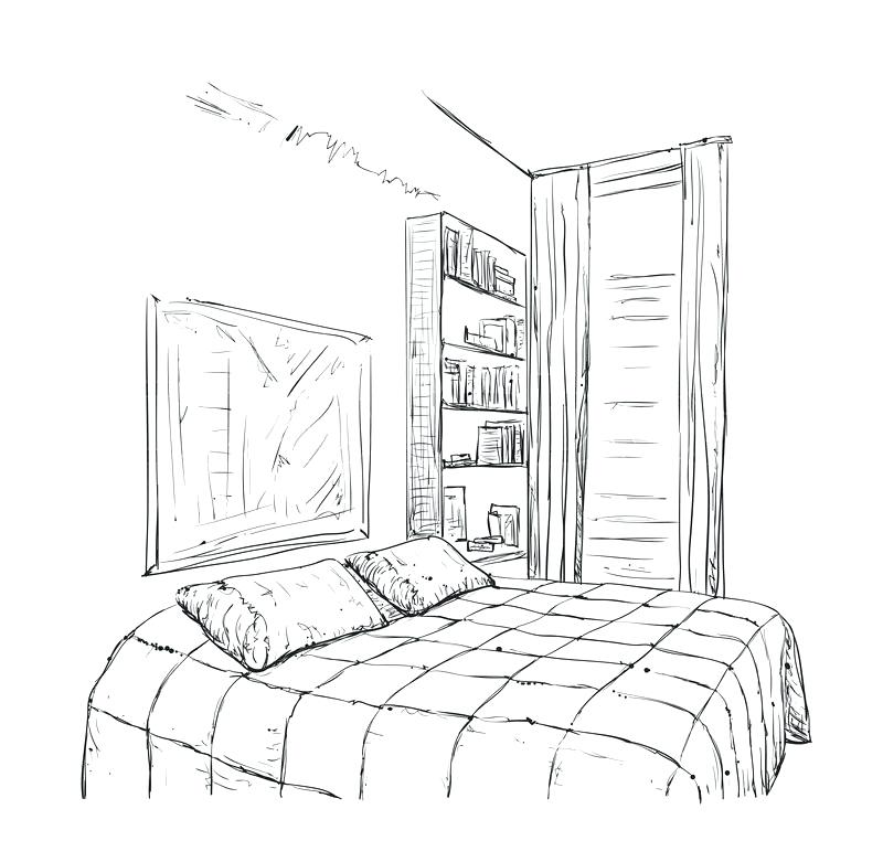 800x762 Drawn Bedroom Charming Dream Bedroom Drawing Betweenthepages.club