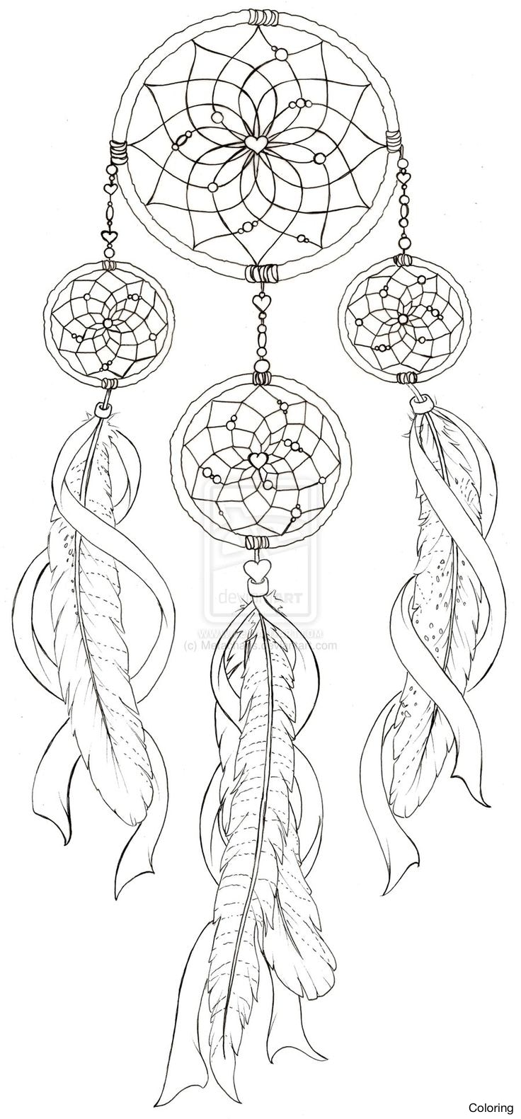 736x1581 Dream Catcher Coloring Pages 002 Dreamcatcher 22f Moon To Print