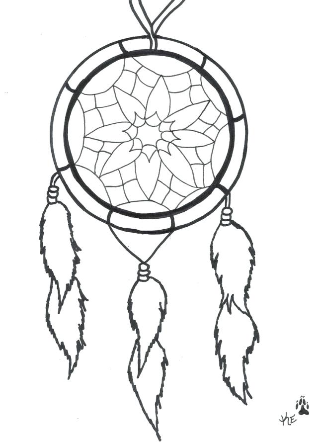 640x891 Dream Catcher Coloring Pages Hand Drawn Native Talisman