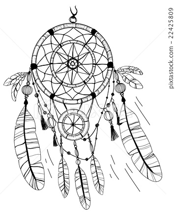 356x450 Dreamcatcher, Feathers And Beads. Coloring Page