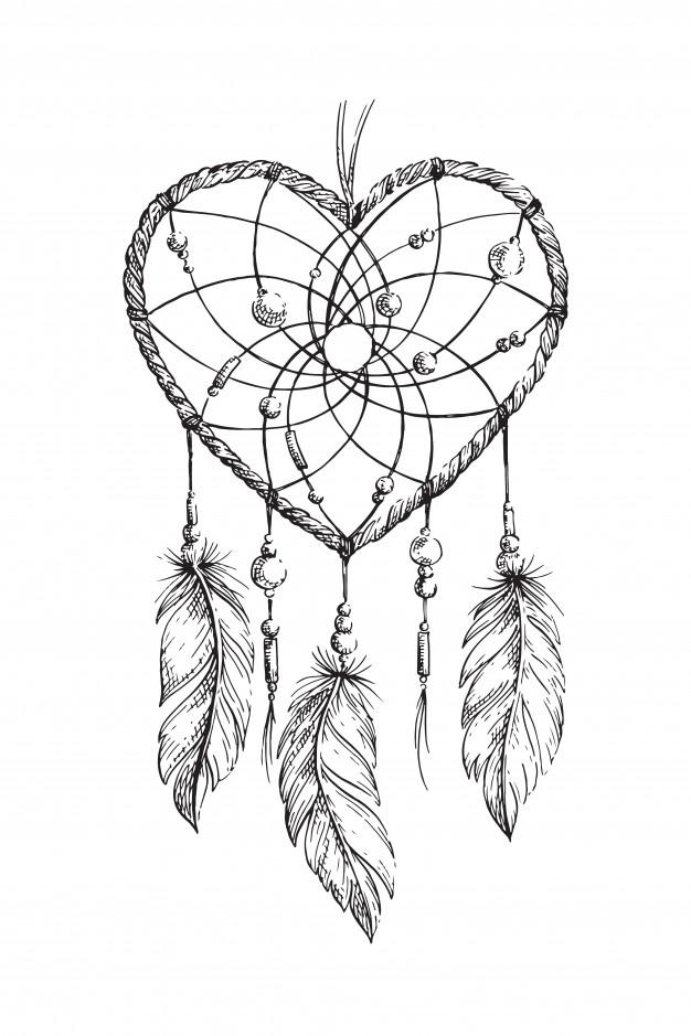 626x939 Dreamcatcher Heart Illustration Vector Premium Download