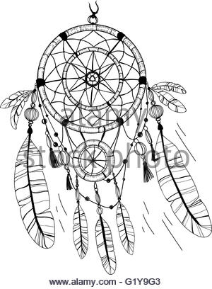 300x408 Dreamcatcher With Bird Feather Beads Lace Amp Dots. Hand Drawn Stock