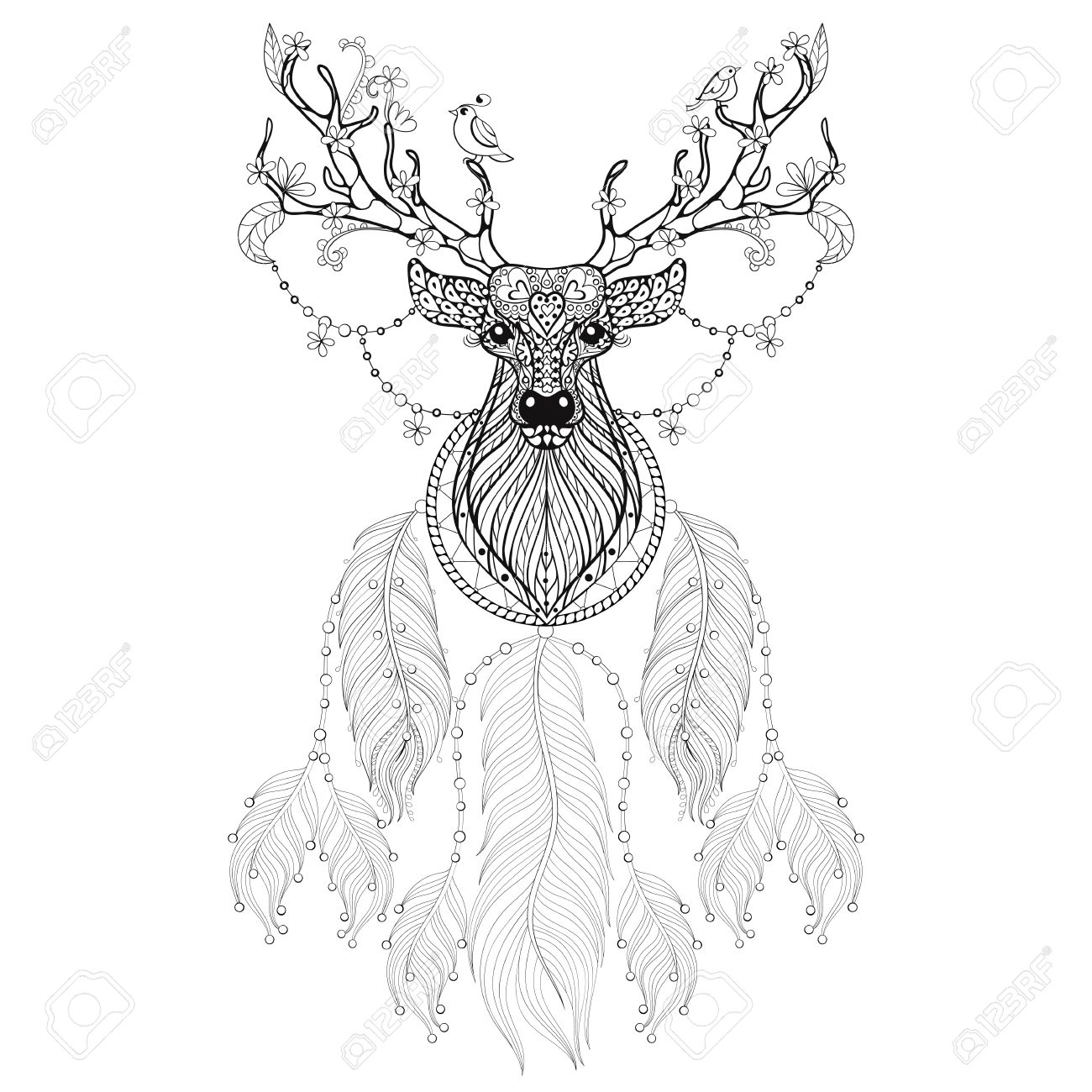 1300x1300 Hand Drawn Dreamcatcher With Tribal Hprned Deer With Flowers