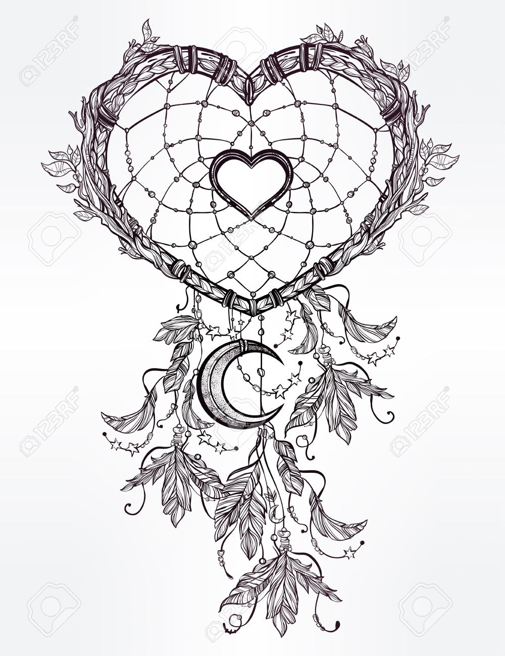 1000x1300 Hand Drawn Romantic Drawing Of A Heart Shaped Dream Catcher