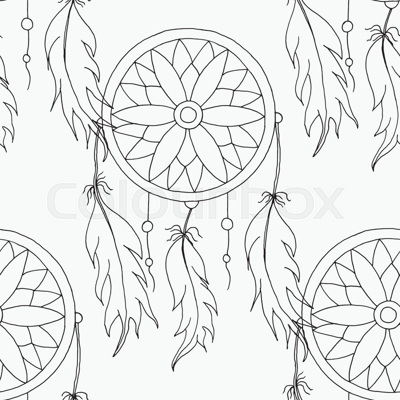 800x800 Hand To Draw A Seamless Pattern Dreamcatcher With Beads
