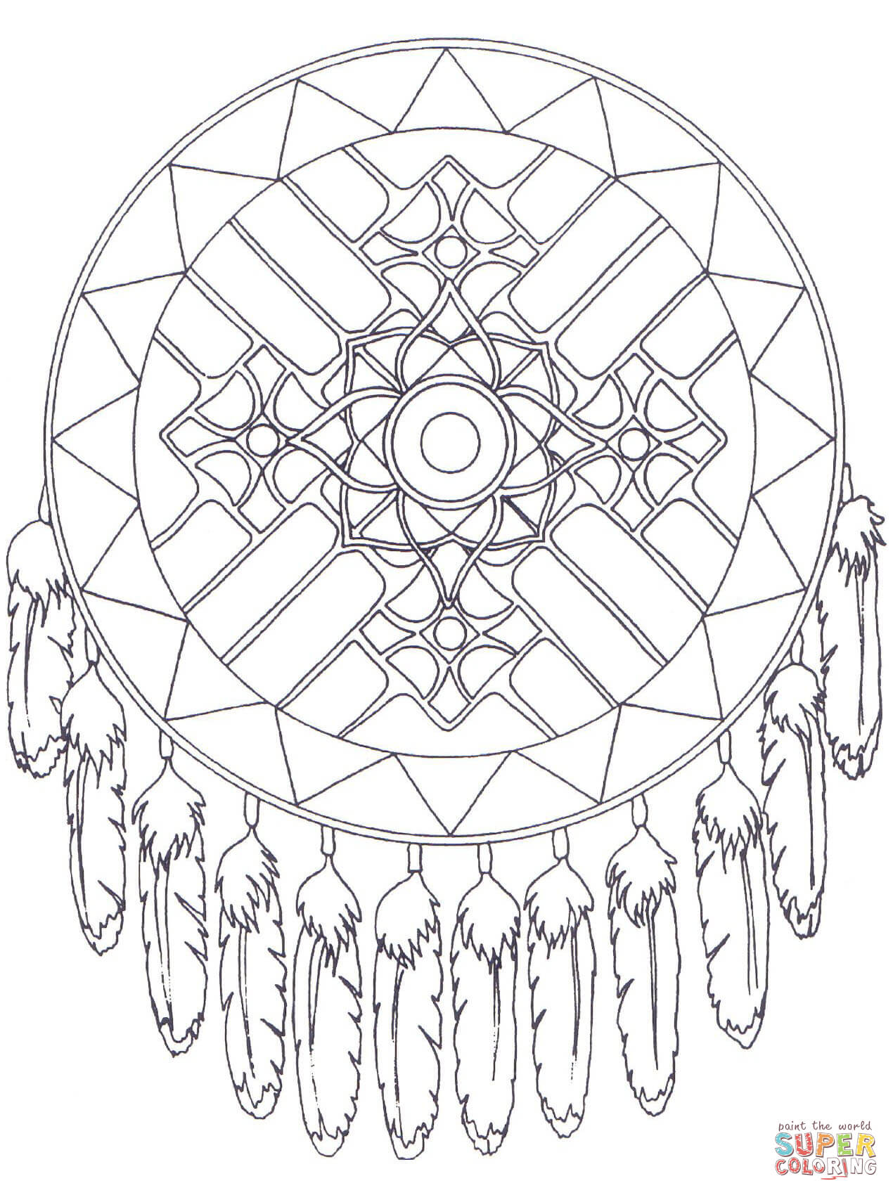 1270x1700 Native American Coloring Pages Printable Dreamcatcher Mandala Page