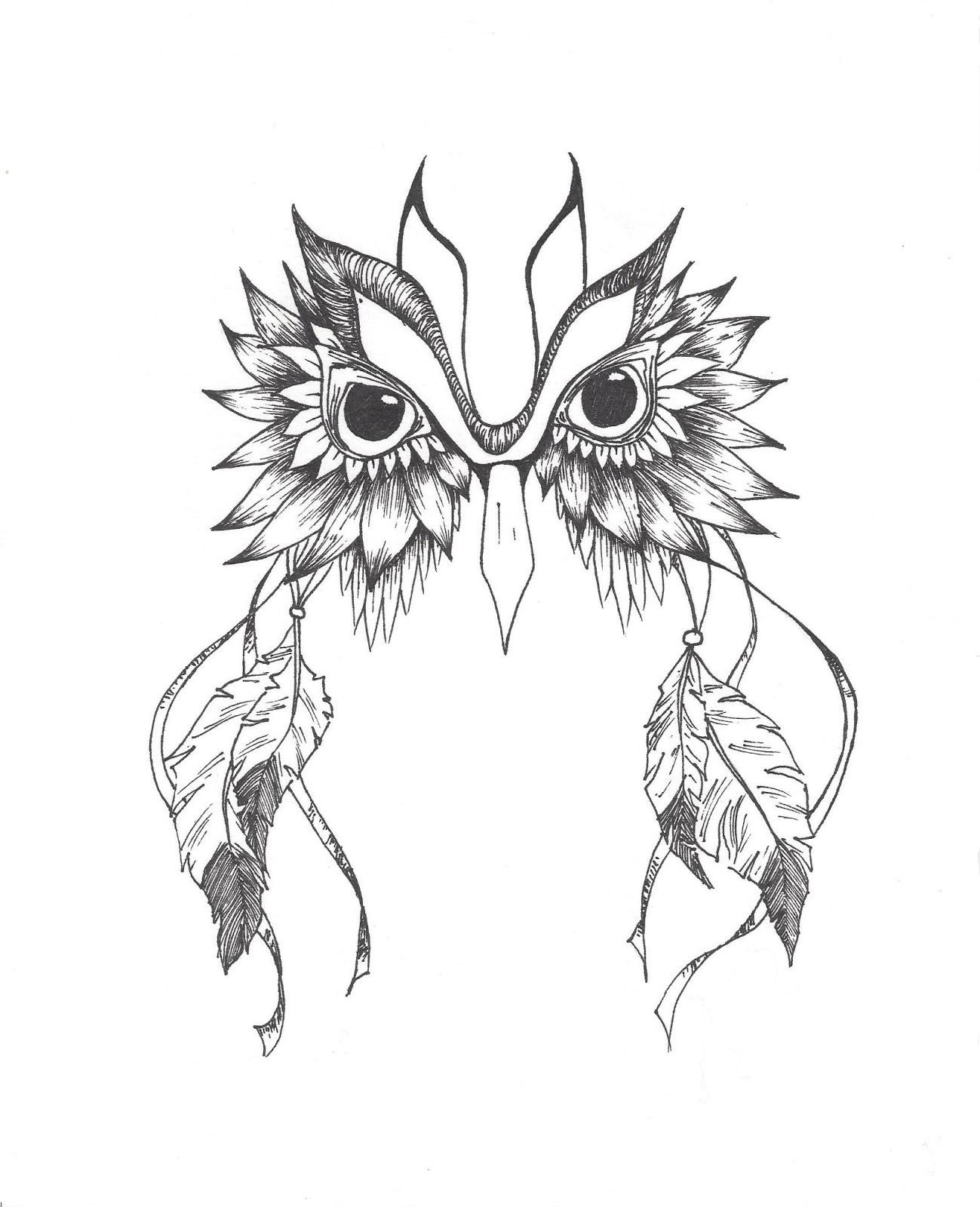 1299x1600 Owl Dreamcatcher Drawing