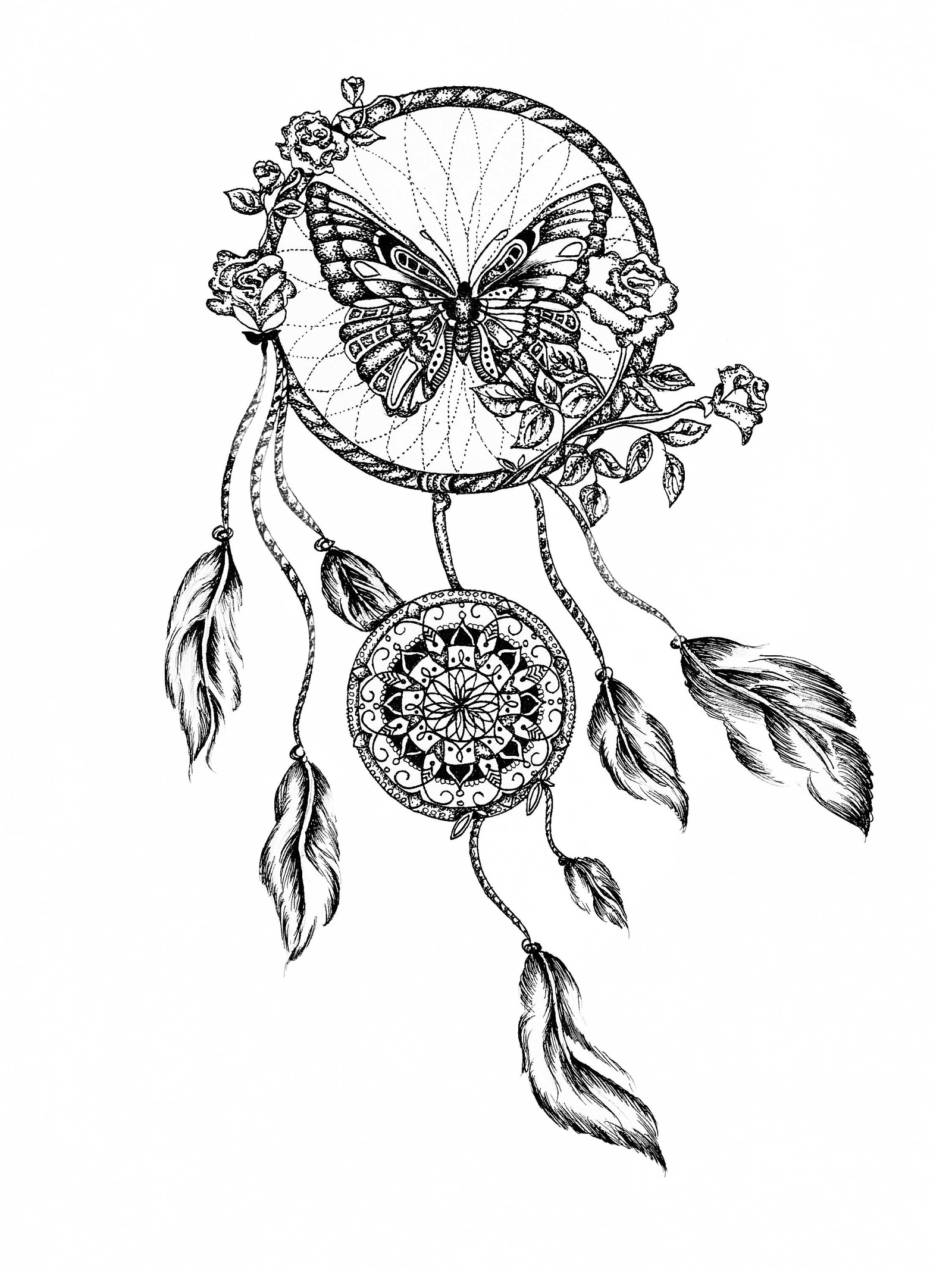 1600x2134 Collection Of Dream Catcher Lineart Tattoo