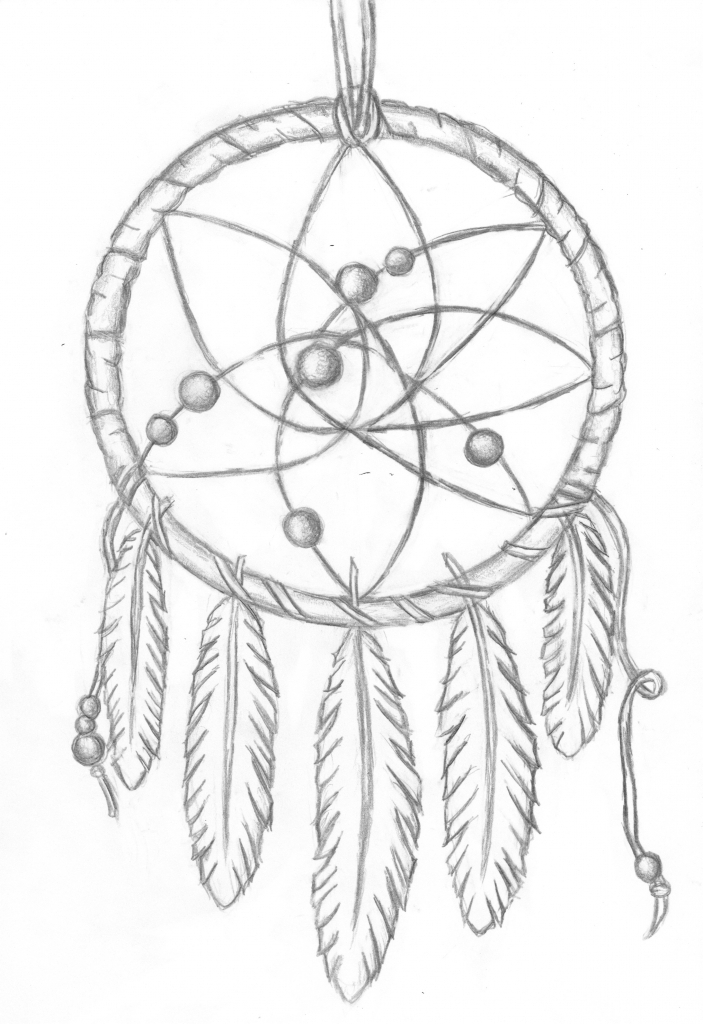 703x1024 Simple Dreamcatcher Drawing
