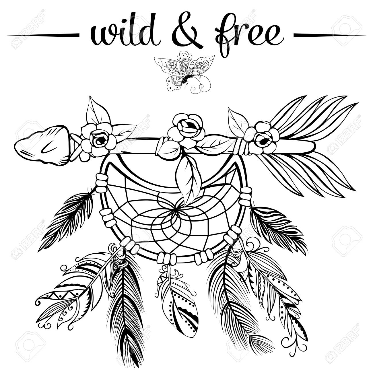 1300x1300 Vector Of Hand Drawn Wooden Arrow With Feathers, Dreamcatcher