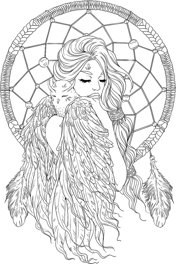 736x1104 Lineartsy Free Adult Coloring Page Dreamcatcher Lined Design