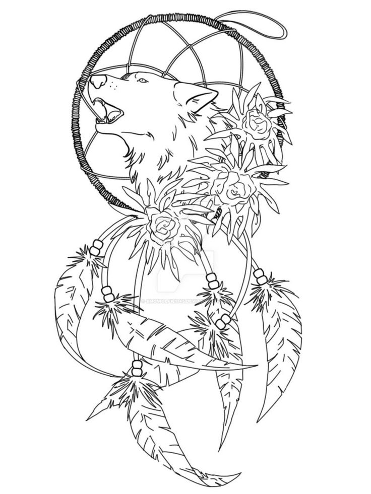 736x981 Collection Of Wolf Dream Catcher Tattoo Sample