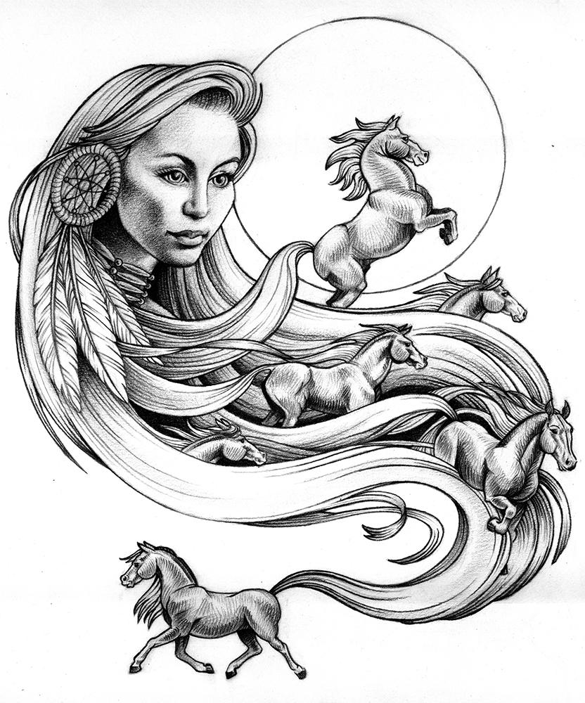 832x1000 Drawn Dreamcatcher Horse