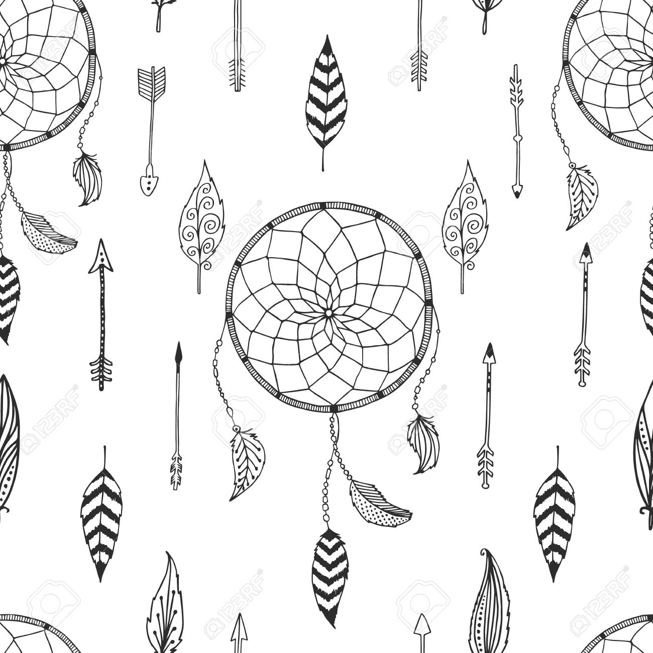 1300x1300 Drawn Dreamcatcher Pattern