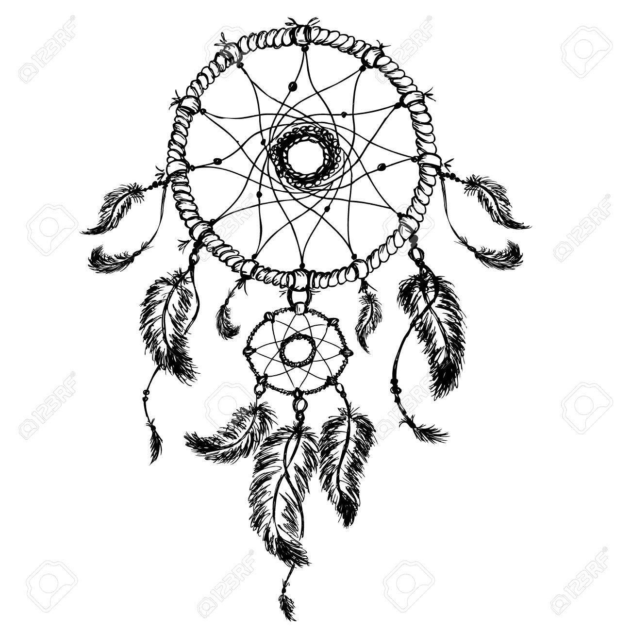 1300x1300 Dream Catcher Isolated On White Background, Hand Drawn Vector