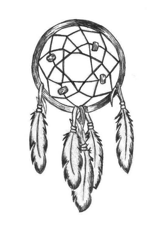 500x784 Dreamcatcher Drawing Black White