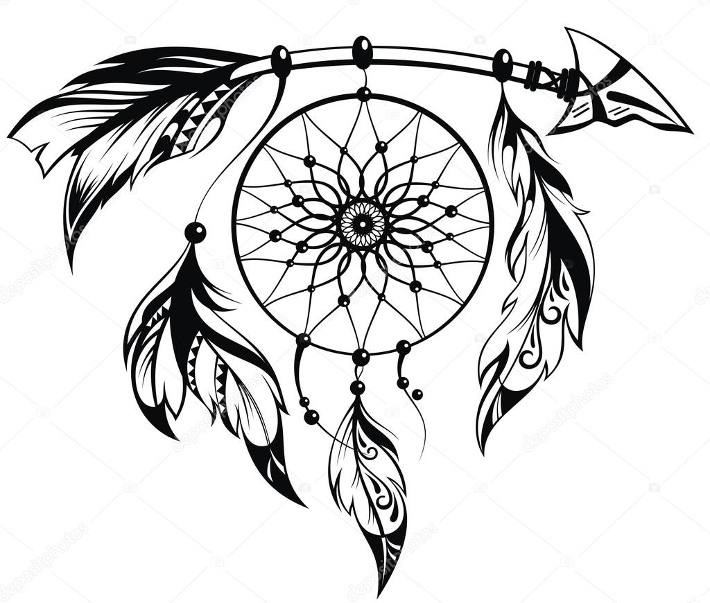 1024x870 Hand Drawn Illustration Of Dream Catcher Stock Vector