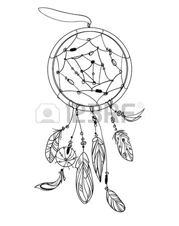 356x450 Vector Illustration Of A Dream Catcher With Feathers. Indian Totem