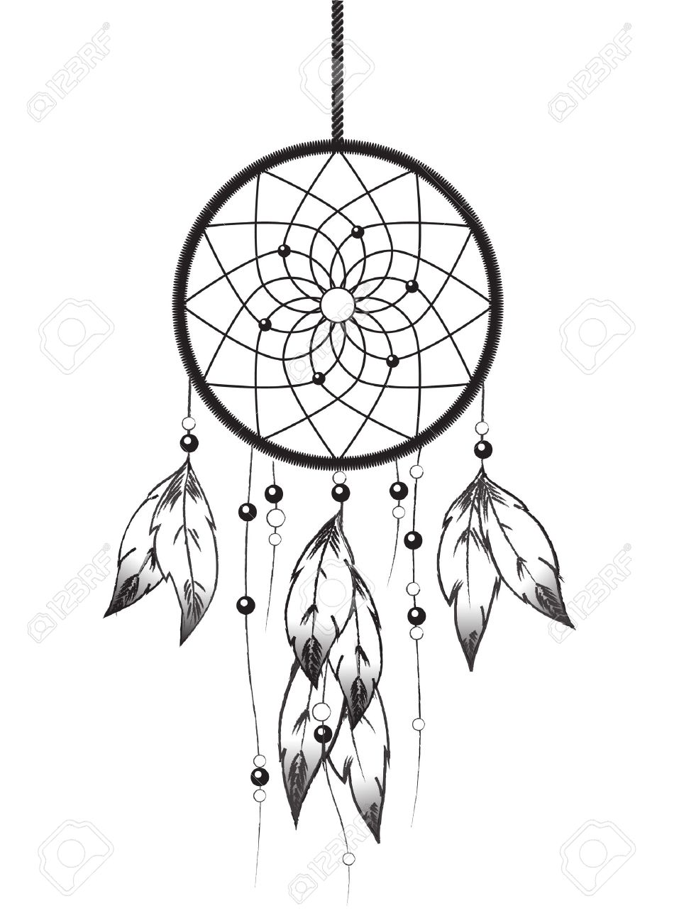 957x1300 Black And White Illustration Of A Dreamcatcher. Royalty Free