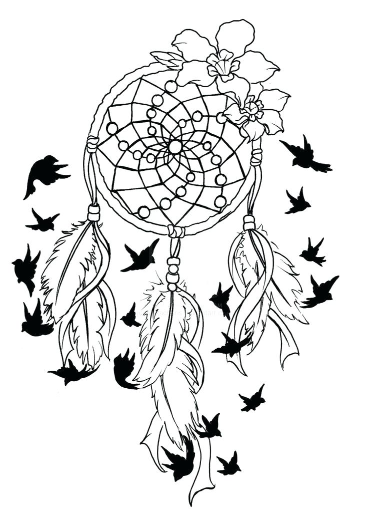 736x1036 Dream Catcher Coloring Pages Hand Drawn Ethnic Coloring Page