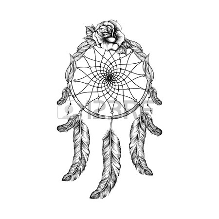 450x450 Dream Catcher With Feathers, Leafs And Rose In Line Art Style