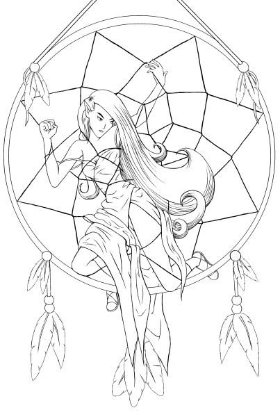 403x600 Dreamcatcher Lineart By Sweet Nymph