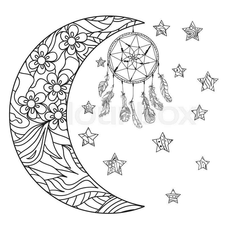 800x800 Half Moon And Stars. Dreamcatcher. Abstract Patterns On Isolation