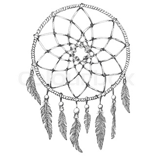 320x320 Beautiful Background Of Feathers With Dream Catcher Stock Vector