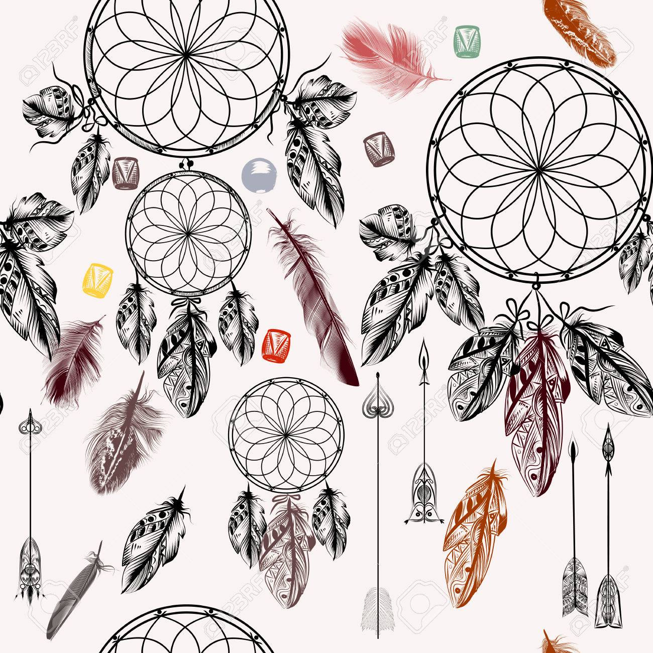 1300x1300 Seamless Vector Background With Hand Drawn Dream Catcher