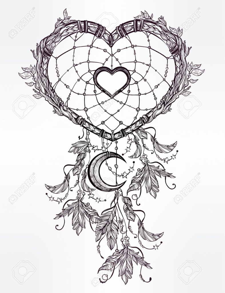 787x1024 Dream Catchers Drawing Hand Drawn Romantic Drawing Of A Heart