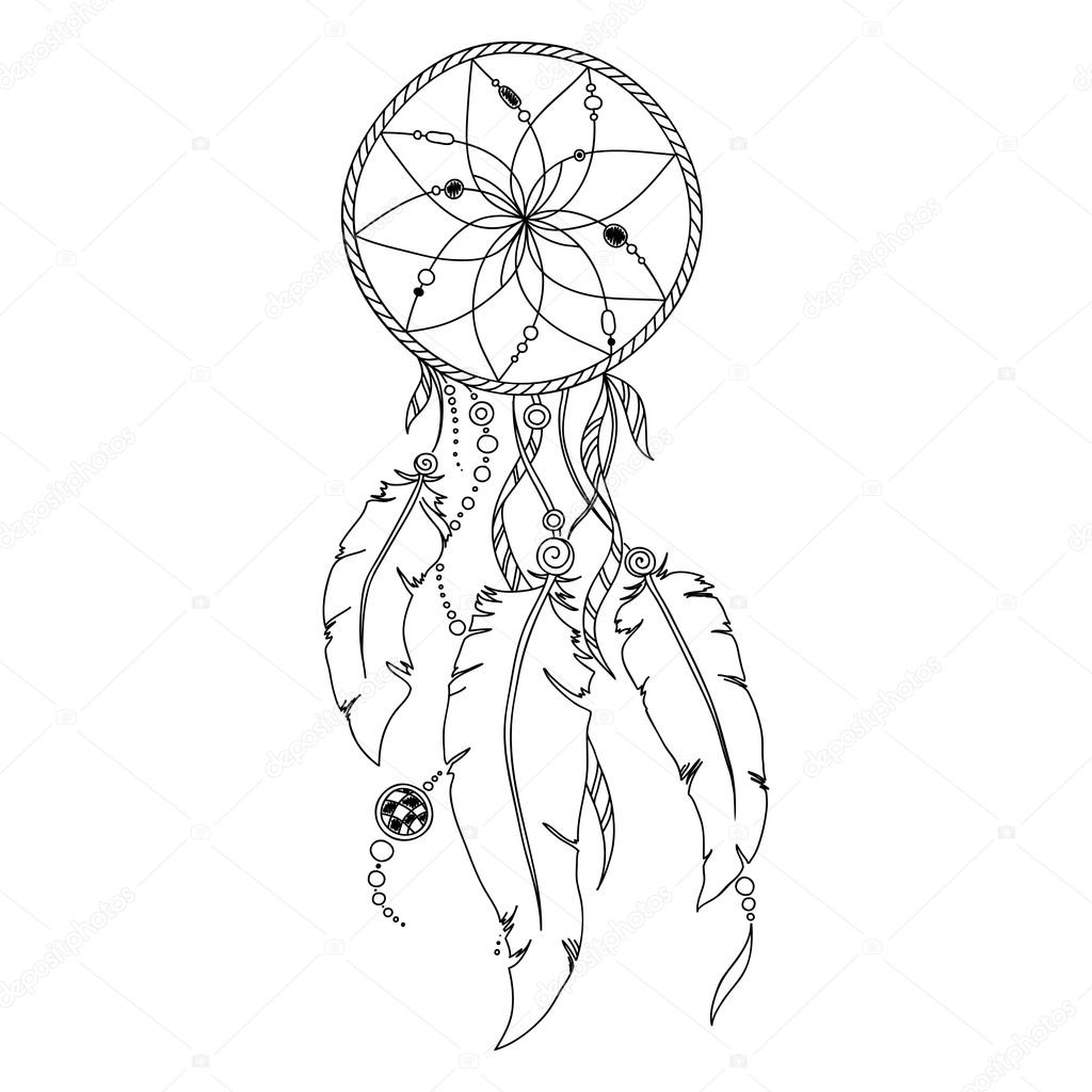 1024x1024 Pattern For Coloring Book. Dream Catcher Stock Vector