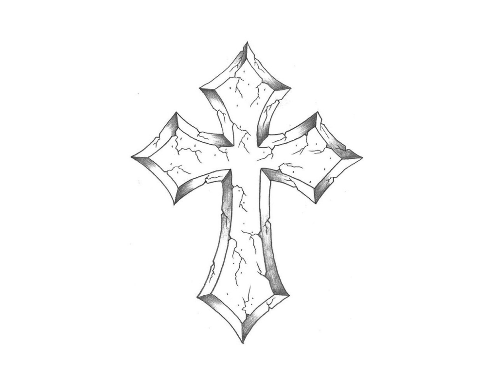 1024x768 Cross Drawings In Pencil