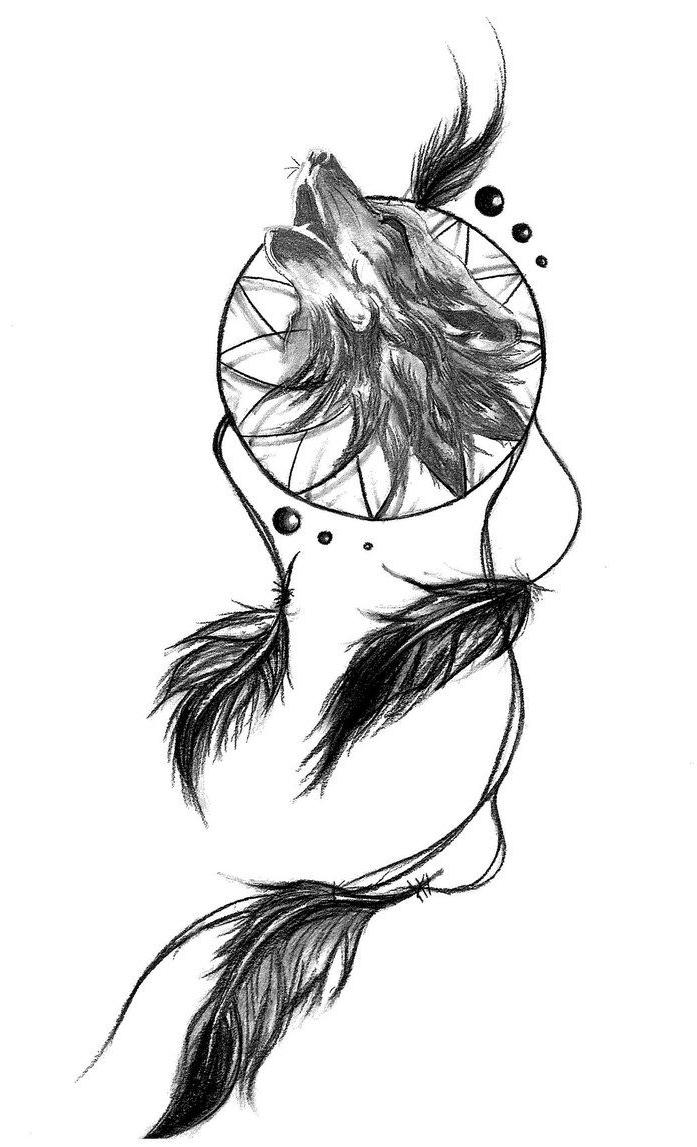697x1147 Dream Catcher Wolf Tattoo Ideas About Wolf Dreamcatcher
