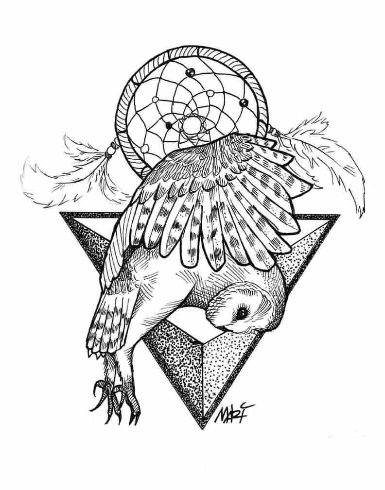 792x1009 Flying Owl, Dream Catcher And Triangle Black And White Tattoo
